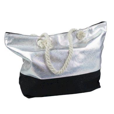 Designová Plážová taška Metalická Stříbrná Allepaznokcie ALLE85632-119