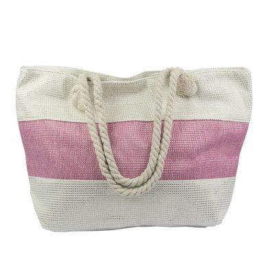 Designová Plážová taška Růžový pruh Allepaznokcie ALLE85632-121