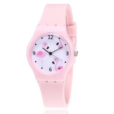 Dívčí silikonové hodinky Plameňáci - růžové Shim Watch 190612173720P