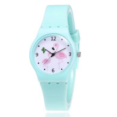 Dívčí silikonové hodinky Plameňáci - zelené Shim Watch 190612173720G