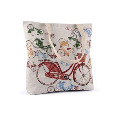 Lněná nákupní nebo plážová taška Retro kolo Lifestyle FS740363SS18