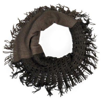 Kruhový pletený šál se štrasem Hnědý Artofpolo FAsz1943ss08