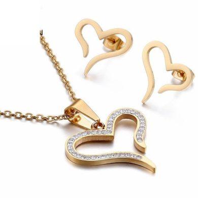 Sada šperků z oceli Srdíčko se zirkony Zlatá Impress Jewelry 190912132045