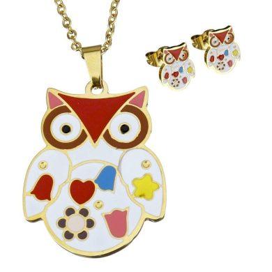 Sada šperků z oceli Barevné sovičky Zlatá Impress Jewelry 181022110306