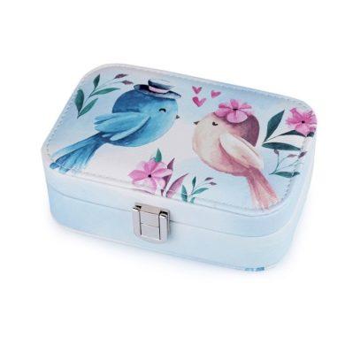 Malá šperkovnice s ptáčky Modrá BMD FS810084ss01