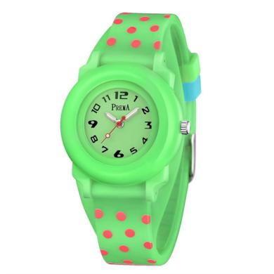 Prema dívčí silikonové hodinky Polka Dots Zelené Shim Watch 180604114816