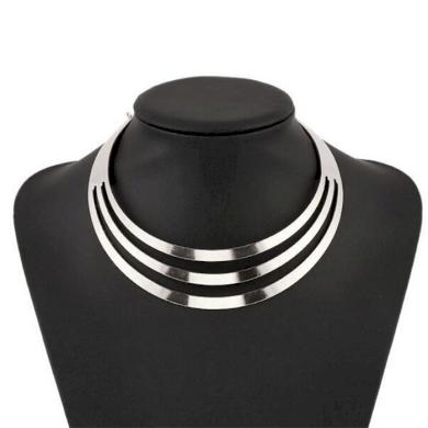 Geometrický kruhový Choker náhrdelník Stříbrný Lodestar 190820145341SL