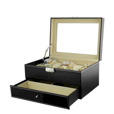 Box na hodinky 10 komor + brýle Černý BMD CARPD95