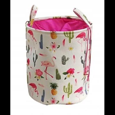 Lněný koš na hračky i prádlo Plameňáci kaktus Lifestyle CAROR46