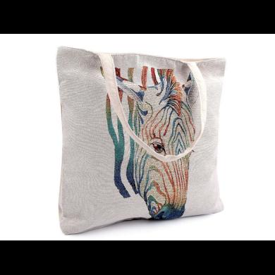 Lněná nákupní nebo plážová taška Zebra Lifestyle FS740363SS22