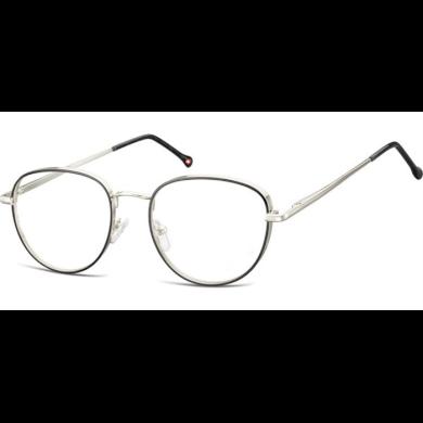 Nedioptrické brýle Oval Outline- Stříbrno černé Montana MM589E