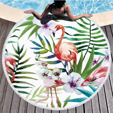 Kruhová plážová osuška Plameňáci palmy Allepaznokcie KX6799