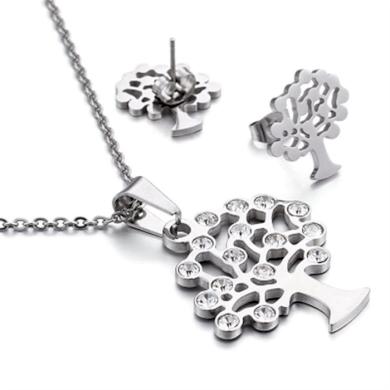 Sada šperků z oceli Strom s krystaly Stříbrný Impress Jewelry 190912134535NHD