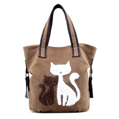 Dámská plátěná kabelka Cute Cats - Hnědá Lifestyle 20072408015620305B