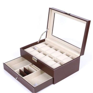 Box na hodinky 12 komor + přihrádky Hnědý BMD 200605185159