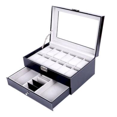Box na hodinky 12 komor + přihrádky Černý BMD 200605185159B