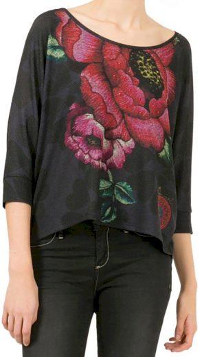 Šedo-černá halenka s květy Desigual