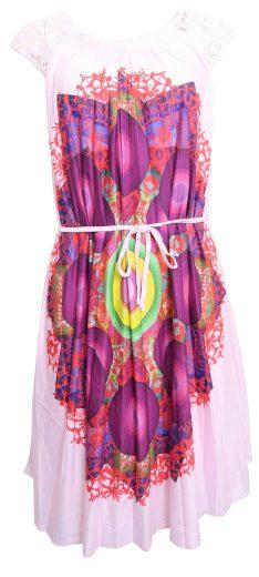 Růžové letní šaty s květy Desigual