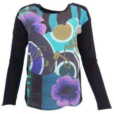 Černá halenka s fialovými květy DESIGUAL