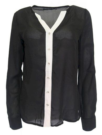 Černá košile s bílým lemem FIVE