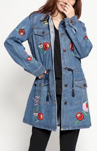 Džínová bunda s výšivkami Desigual