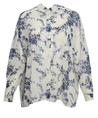 Bílá košile s modrými květy Pepe Jeans