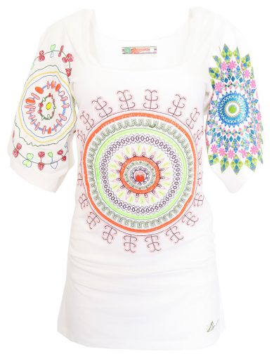 Bílé prodloužené triko se vzorem Desigual