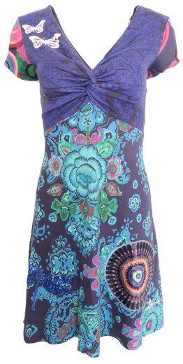 Desigual modré šaty s flitrovanou vážkou