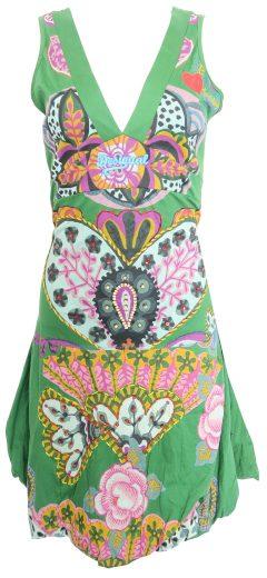 Desigual barevné šaty s hnědými korálky
