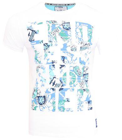 Bílé triko s modrozeleným potiskem Jack Williams