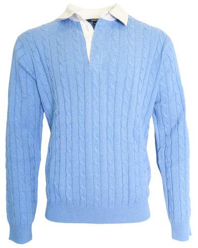 Modrý vzorovaný svetr s límečkem Gant