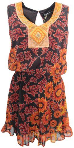 Desigual oranžové šaty s perličkami