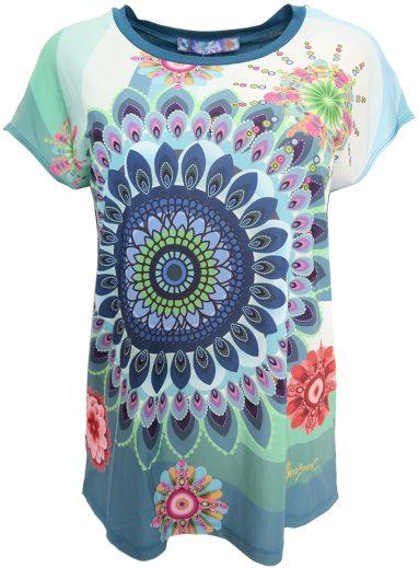 Desigual modrozelené vzorované triko