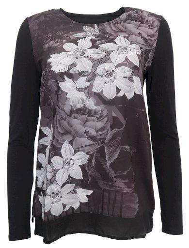 Černobílá halenka s květy Desigual