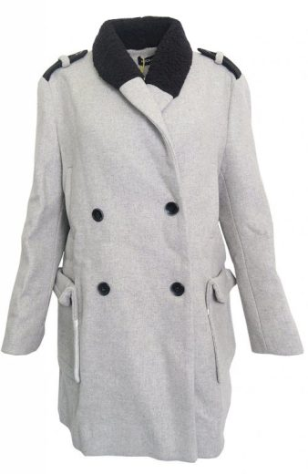 Šedý kabátek s černým límcem Kookai