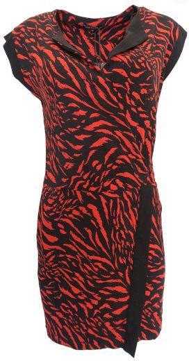 Žíhané červenočerné šaty Morgan