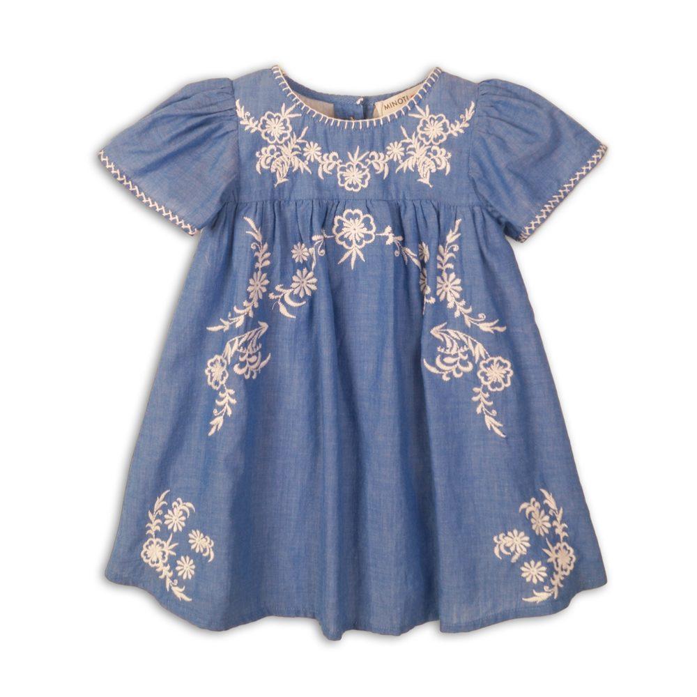 Minoti Šaty dívčí bavlněné vyšívané, Minoti, Picnic 3, modrá