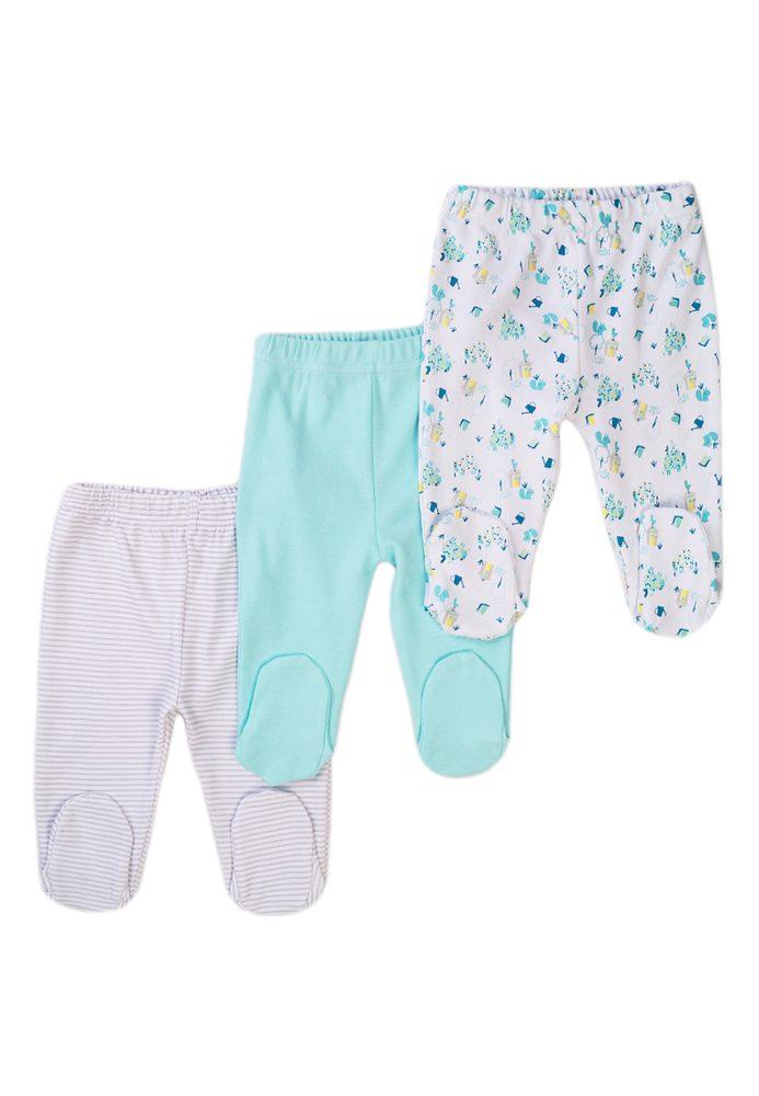 Minoti Kalhoty kojenecké 3pack, Minoti, Snail 12, modrá
