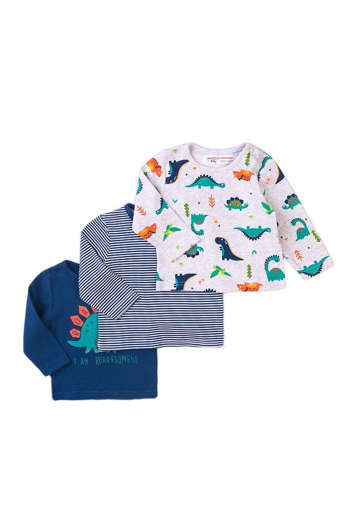Minoti Tričko kojenecké 3pack, Minoti, Jurassic 10, modrá