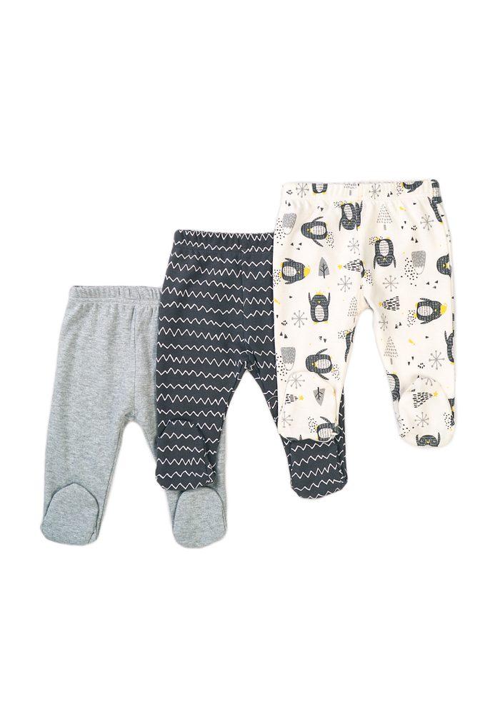 Minoti Kalhoty kojenecké 3pack, Minoti, Hug 12, šedá