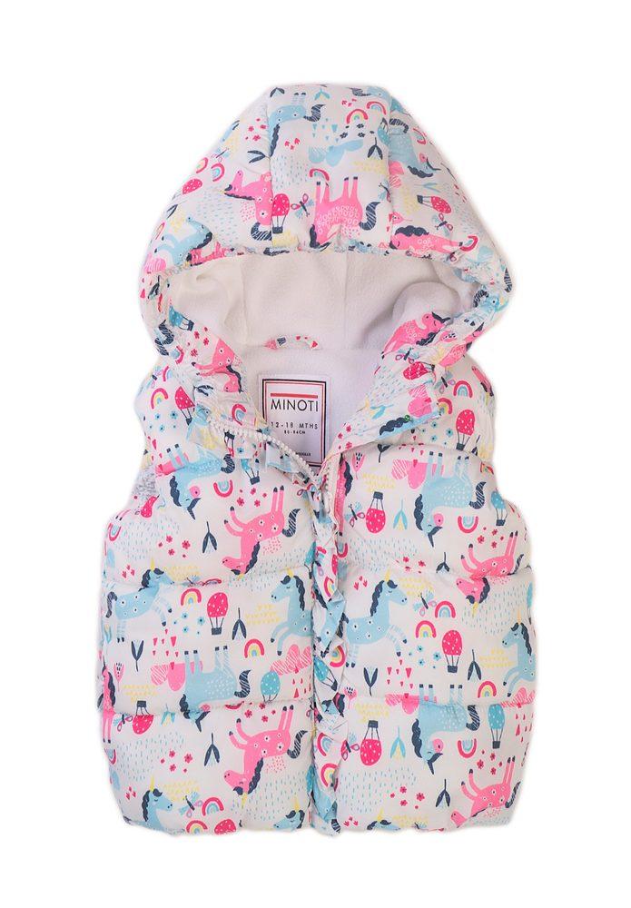 Minoti Vesta dívčí Puffa s kapucí, Minoti, 8GGILET 4, bílá