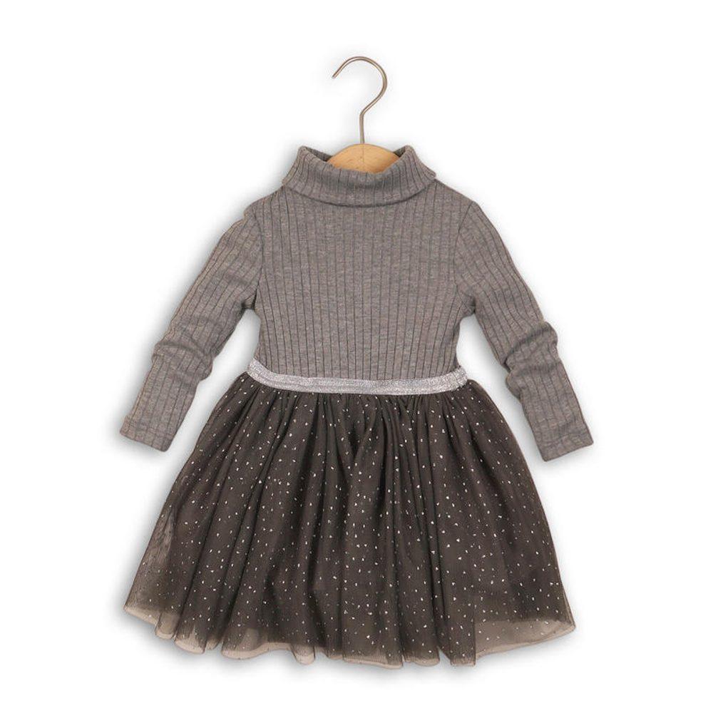 Minoti Šaty dívčí, rolák a řesená sukně, Minoti, DOLL 3, šedá