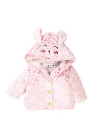 Minoti Kabátek kojenecký chlupatý s kapucí, Minoti, Robbin 3, růžová