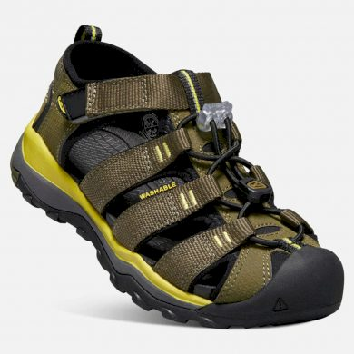 Keen Dětské sandály NEWPORT NEO H2 JR, dark olive/celery, Keen, 1018423, khaki