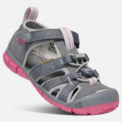 Keen Dětské sandály SEACAMP II CNX JR, steel grey/rapture rose, Keen, 1020702, šedá