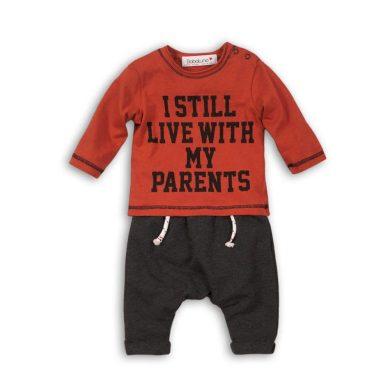 Minoti Kojenecký set bavlněný, tričko a kalhoty, Minoti, SKETCHY 1, oranžová