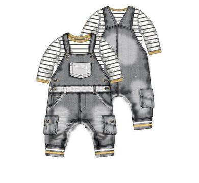 Minoti Kojenecký set bavlněný, body a kalhoty s laclem, Minoti, GREY 7, šedá