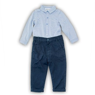 Minoti Kojenecký set bavlněný, body košile a kalhoty, Minoti, SMART 5, modrá