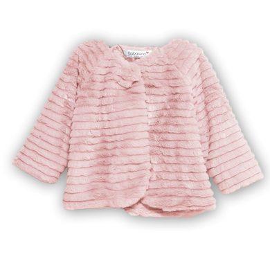 Minoti Kabátek kojenecký chlupatý s bavlněnou podšívkou, Minoti, BOW 2, růžová