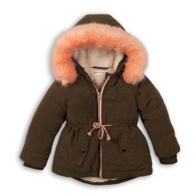 Minoti Kabát dívčí zimní Parka podšitá chlupem, Minoti, TRIP 1, khaki
